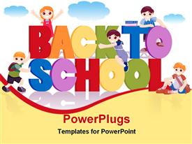 PowerPoint template displaying a cartoon of five school children with back to school text