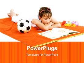 PowerPoint template displaying young child lying on a brown surface reading a book