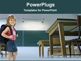 PowerPoint template displaying little girl with backpack in classroom
