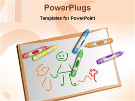 PowerPoint template displaying kids drawing kits in the background.