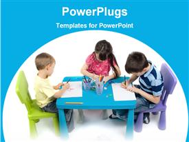 Kids reading on a table powerpoint theme