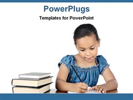 PowerPoint template displaying girl student writing with pencil on paper beside stack of books, education, learning, teaching, school