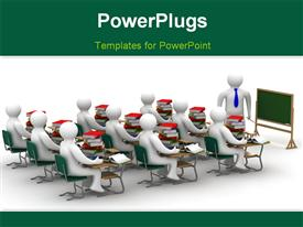PowerPoint template displaying lesson in a school class. Isolated 3D depiction