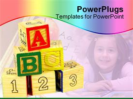 Letter and number blocks powerpoint template