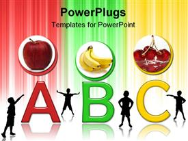 PowerPoint template displaying colorful ABC alphabets with three circular tiles with fruits and kids