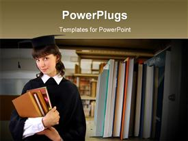 PowerPoint template displaying library books in the background.