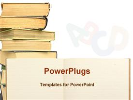 PowerPoint template displaying lined exercise book with other books in the background.