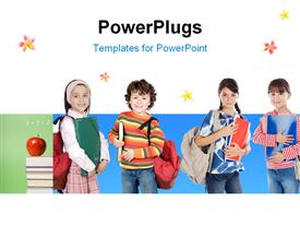 PowerPoint template displaying lovable students, children over a white background
