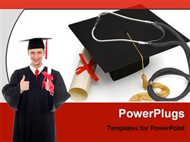 PowerPoint template displaying graduate holding diploma, cap, graduation, college, commencement