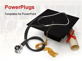 PowerPoint template displaying mortar board, diploma and stethoscope on white