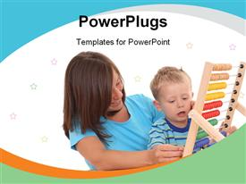 Mother and 3-4 years old boy with big abacus powerpoint theme