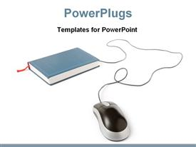 PowerPoint template displaying mouse with books for educational knowledge in the background.