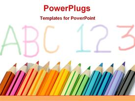 PowerPoint template displaying multicolor pencils in the background.