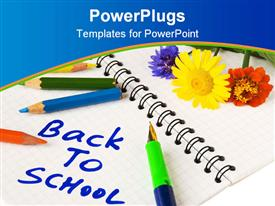 PowerPoint template displaying notebook with back to school words