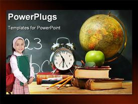 PowerPoint template displaying school depiction with composition of learning tool over chalkboard and little girl