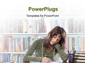 PowerPoint template displaying a female student studying in a library with blurry books behind her