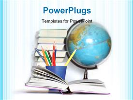 PowerPoint template displaying opened book on background with colored pencils books stack and globe