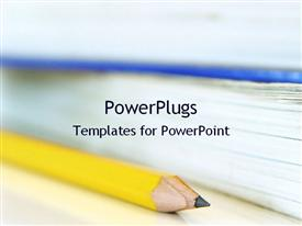 PowerPoint template displaying pencil and books in the background