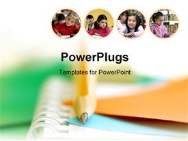 PowerPoint template displaying four tiles with children in a classroom on a blurry background