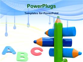 PowerPoint template displaying pencils referent for educational guidelines in the background.