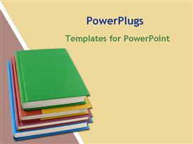 PowerPoint template displaying pile of text books in the background.