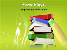PowerPoint template displaying stack of books with green background and white grass silhouette