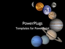 PowerPoint template displaying all eight planets lined up in space galaxy moon venus mars pluto jupiter earth