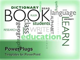 PowerPoint template displaying education word cloud, school subjects, learning