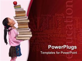Power of future is your education. A young girl hold a tall tower of books template for powerpoint