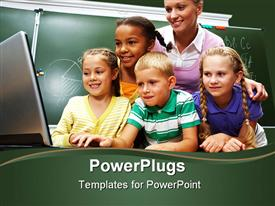 PowerPoint template displaying a group of students with a teacher looking on a screen