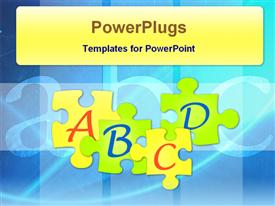 PowerPoint template displaying alphabet puzzle pieces with ABC background, education, learning, school, teaching