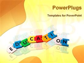 PowerPoint template displaying jigsaw puzzle pieces forming word 'education' on colorful background