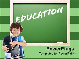 PowerPoint template displaying word education written with white chalk on green chalkboard and boy pupil smiling holding large books and notebooks in his arms