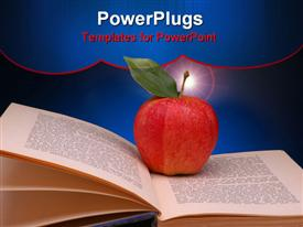 PowerPoint template displaying red Apple with Green Leaf on Open Book and blue spotlight background
