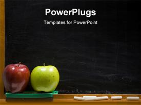 PowerPoint template displaying red and green apples for teacher with black chalk board and white chalk in old fashioned classroom