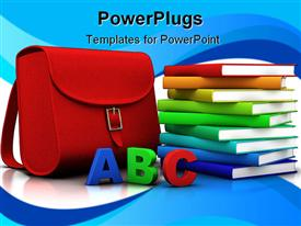 PowerPoint template displaying red satchel and stack of colorful books - 3D depiction/rendering