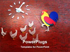 PowerPoint template displaying education metaphor with rooster teaching hens, clock, red brick background