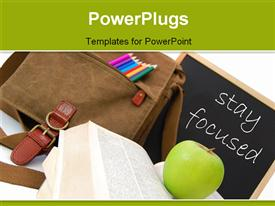 PowerPoint template displaying a school bag and a chalk board with an apple on an open book