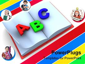 PowerPoint template displaying book with ABC, school children, students, learning, education