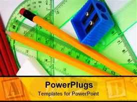 PowerPoint template displaying school geometry set with copybooks pencils rubber and sharpener