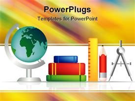 PowerPoint template displaying set of education objects for the classroom or learning