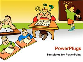 PowerPoint template displaying set of education related depictions studying
