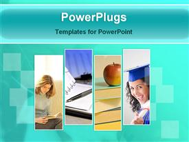 PowerPoint template displaying four slides of reading young lady, apple on books and graduating student