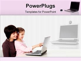 Small girl working on laptop powerpoint template