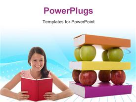 PowerPoint template displaying solid mix of books and apples for good learning foundations