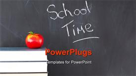 PowerPoint template displaying stack of books with a red apple and a blackboard with school time written on it