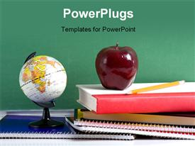 PowerPoint template displaying stack of school books and an apple and a miniature globe in front of a blank chalkboard