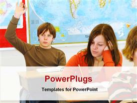 Student answering in classroom template for powerpoint