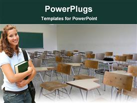PowerPoint template displaying high school standing in classroom with bag and book, education, learning, teaching, school
