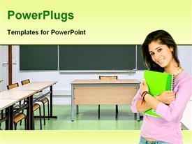 PowerPoint template displaying smiling girl with green notebook in empty classroom